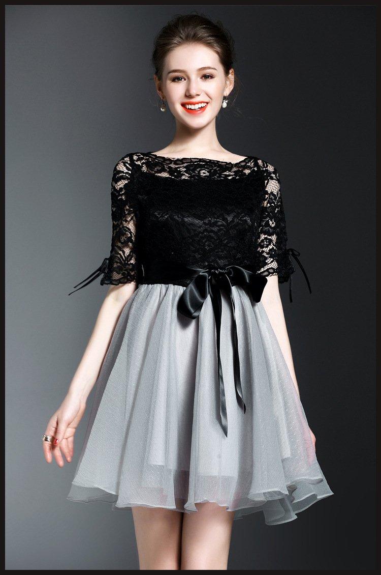 Brand New Vintage Elegant Women Summer Black Bowknot Lace Mini Evening Party Dress