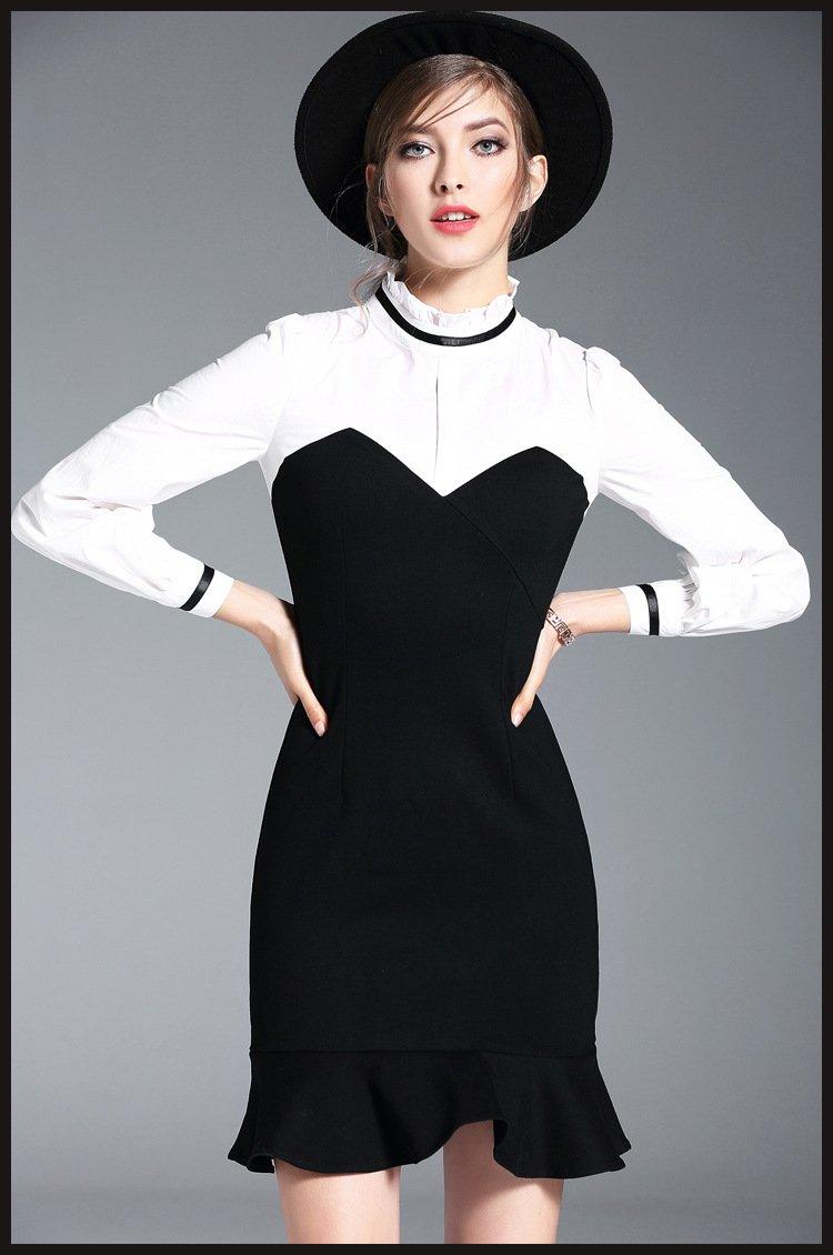 black white long spring summer dress women clothing midi long sleeve dress slim fit party full dress