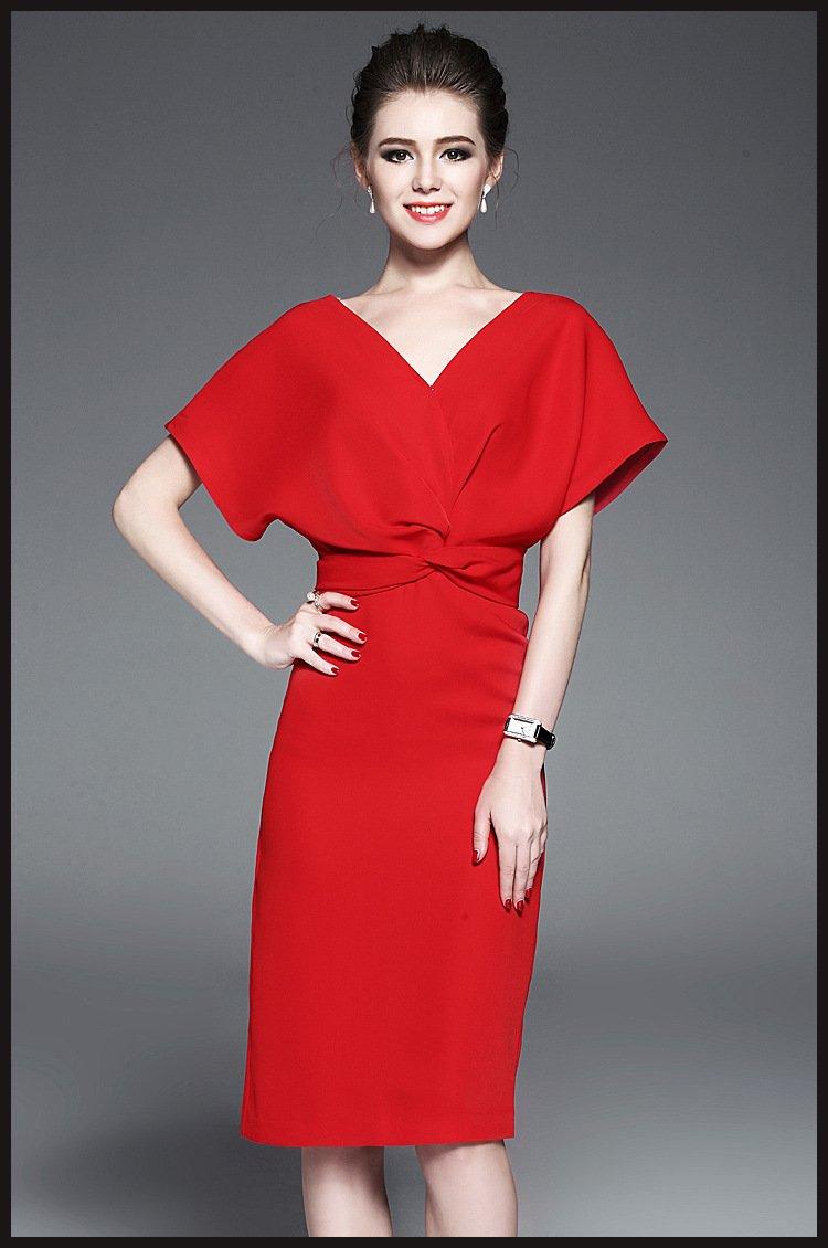 women dress,red dress, pleated dress,fashion clothing, midi dress,summer dress, casual dress