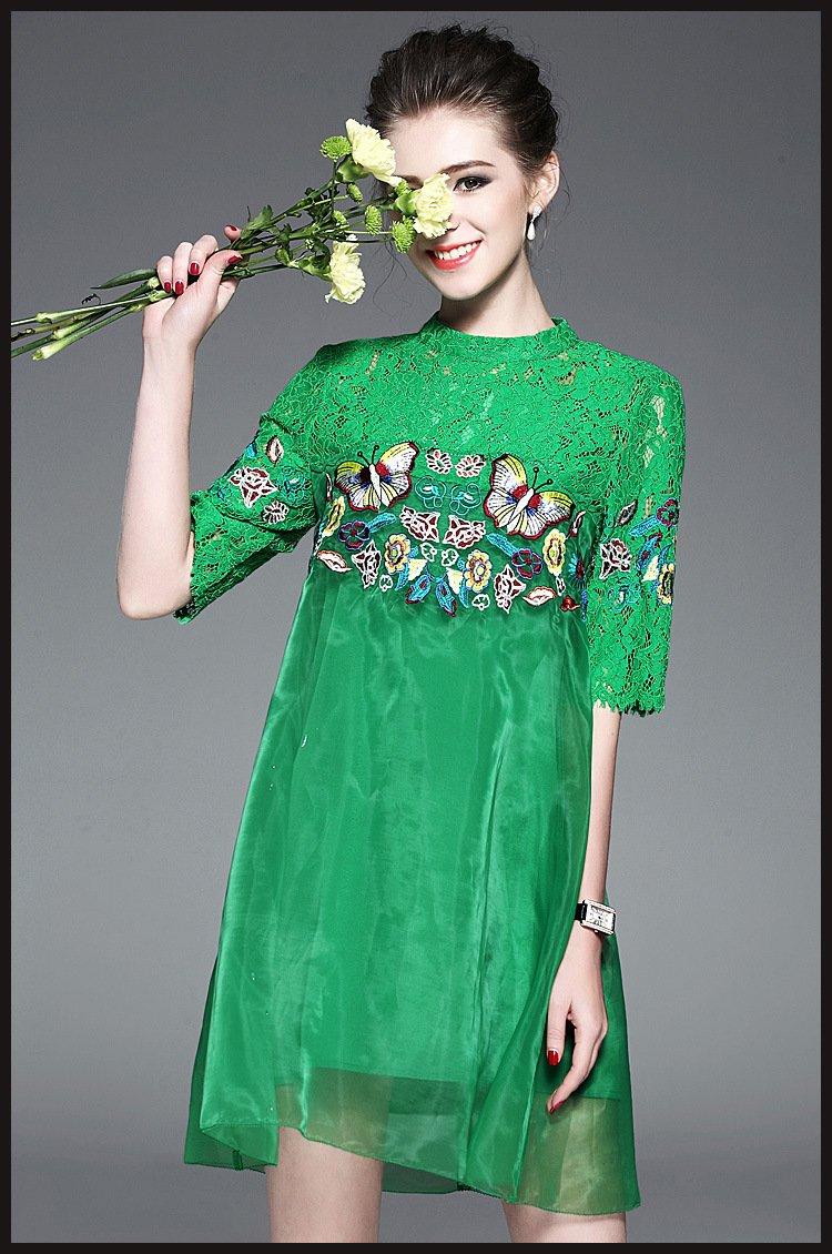 women summer dress/party dresses/midi dress/lace dress/embroidered dress/Black dress