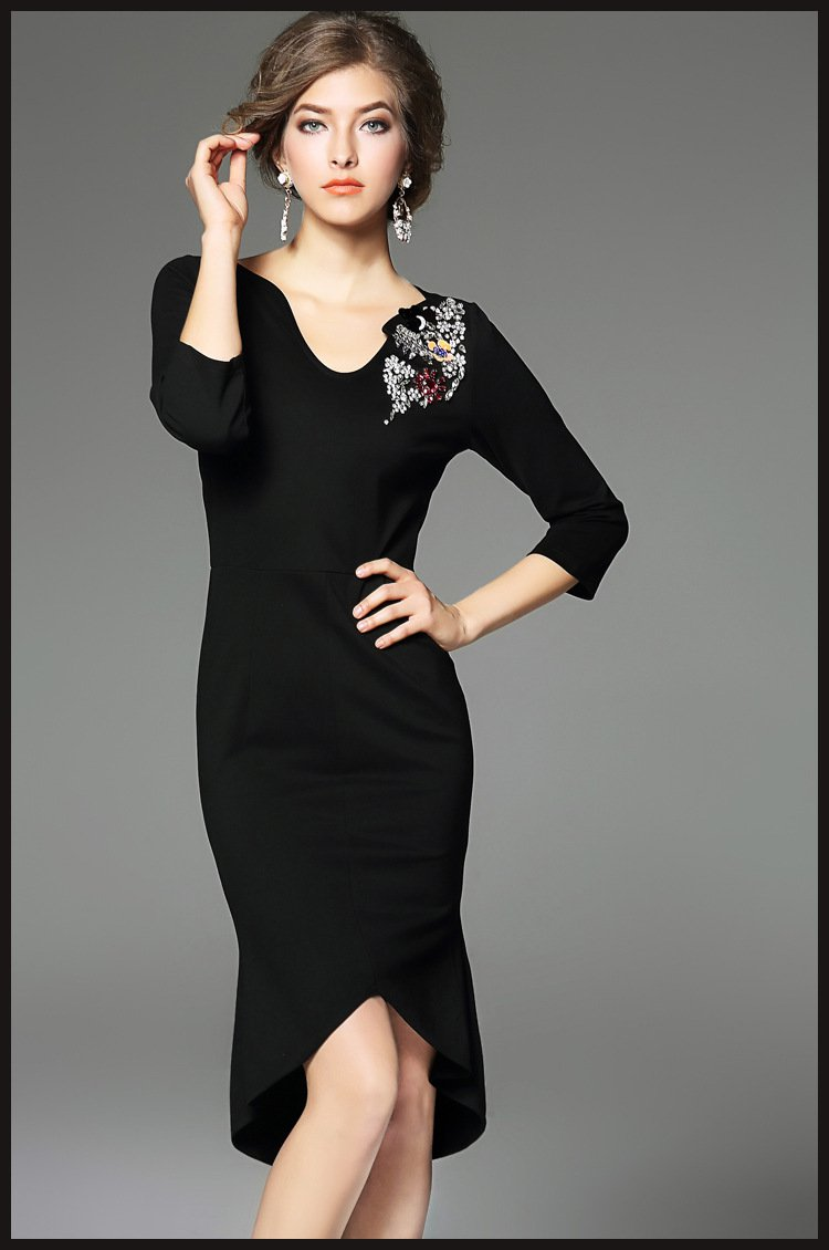 black dress/cotton dress/prom dress/ruffle dress/midi dress/wedding dress/women dress/summer dress