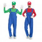 Adult Super Mario Luigi Brothers Plumber Jumpsuit Cosplay Costume Halloween Costumes for Men Party
