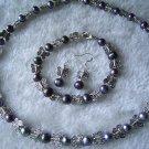 Black pearl-butterfly Jewelry Set