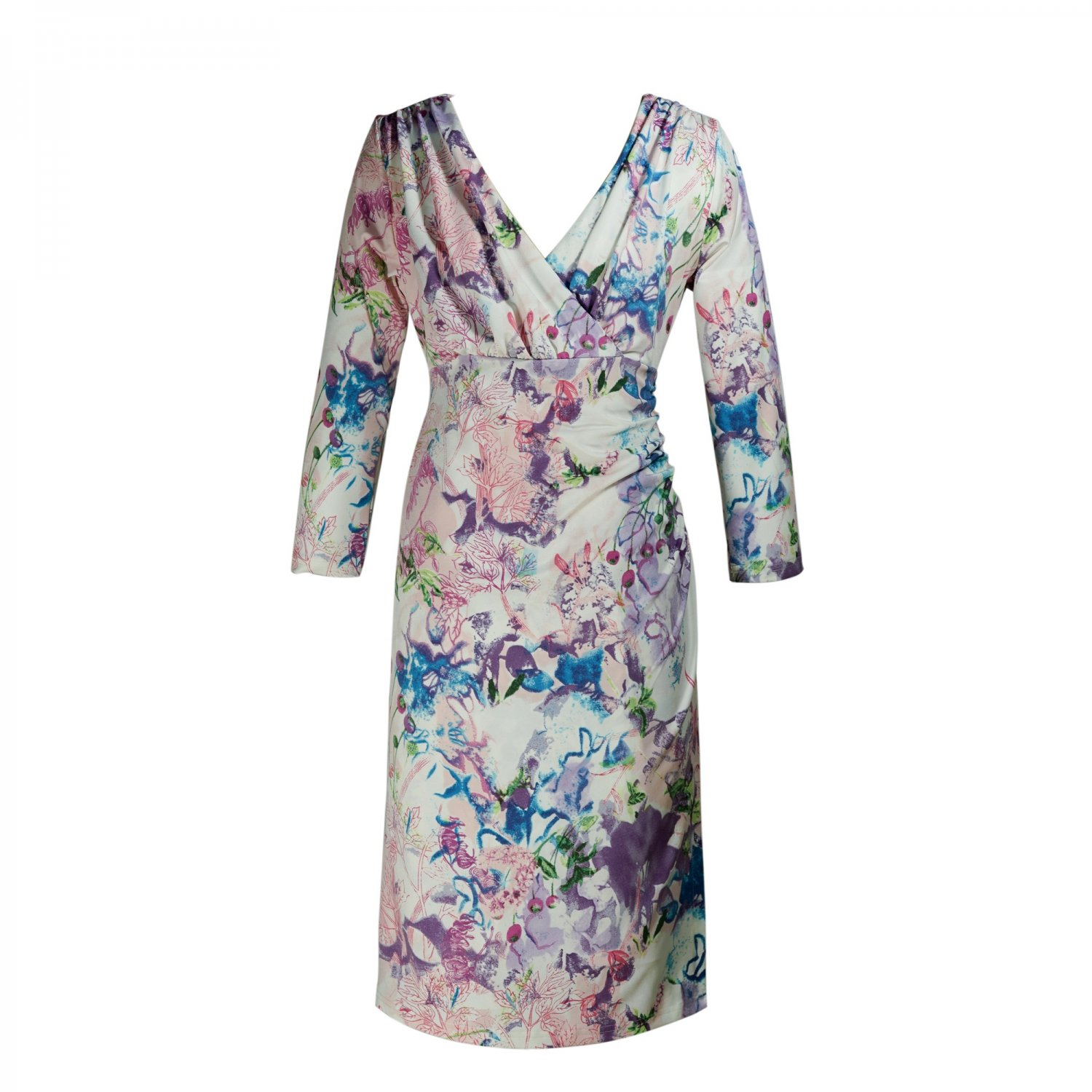 2 FOR 1 CLOTHES 3/4 Sleeve Printed Jersey Faux Wrap Dress,XS,S,M,L