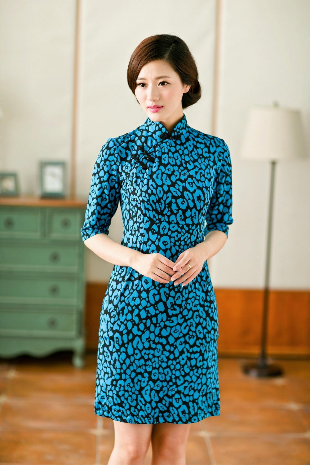 2 FOR 1 CLOTHES 3/4 Sleeve Printed Jersey Dress Qipao,XS,S,M,L