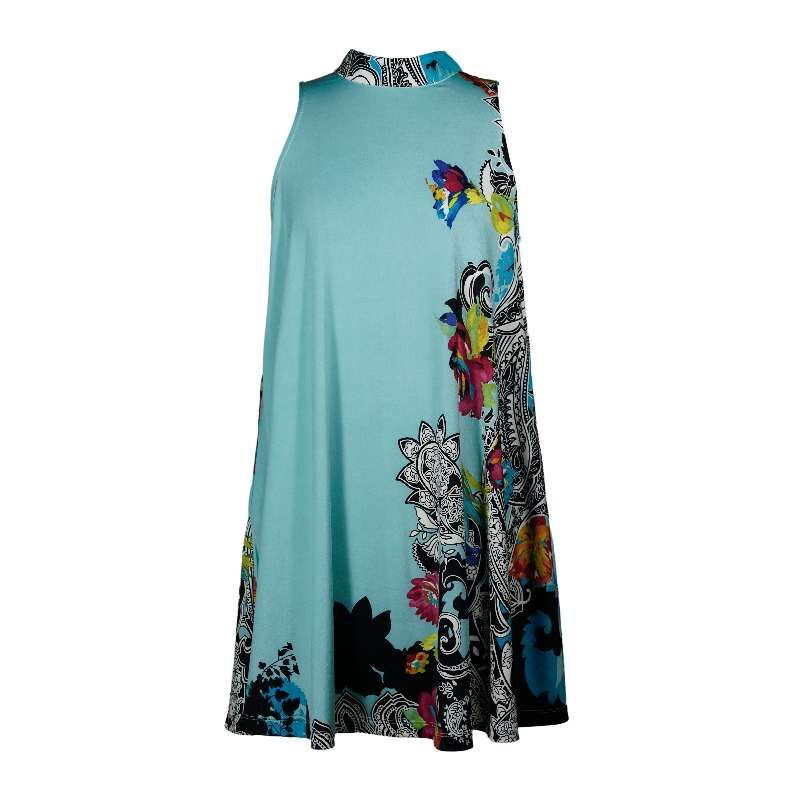 2 FOR 1 CLOTHES Stand-up Collar Sleeveless Printed Jersey Dress,XS,S,M