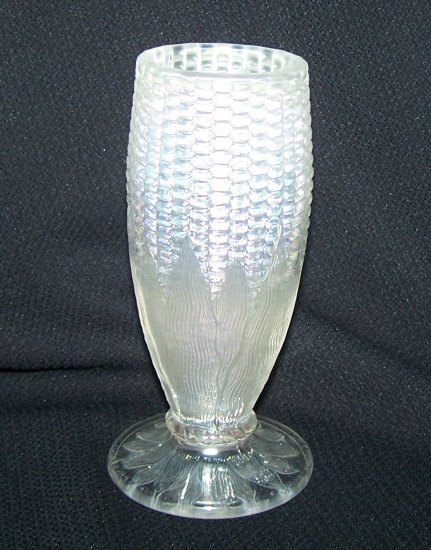 Northwood White Carnival Glass Cornvase-Damaged