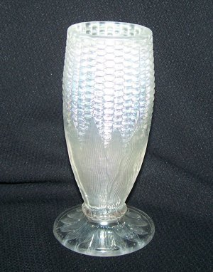 Northwood White Carnival Glass Cornvase-Damaged