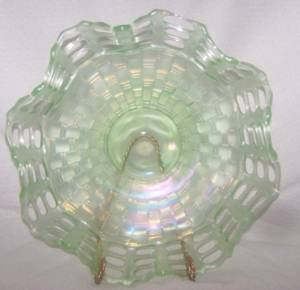 Fenton Ice Green 3 rowed Open Edge Carnival Glass Bowl
