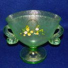 Fenton Green Dolphin Fan Vase
