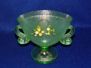 Fenton Green Dolphin Fan Vase