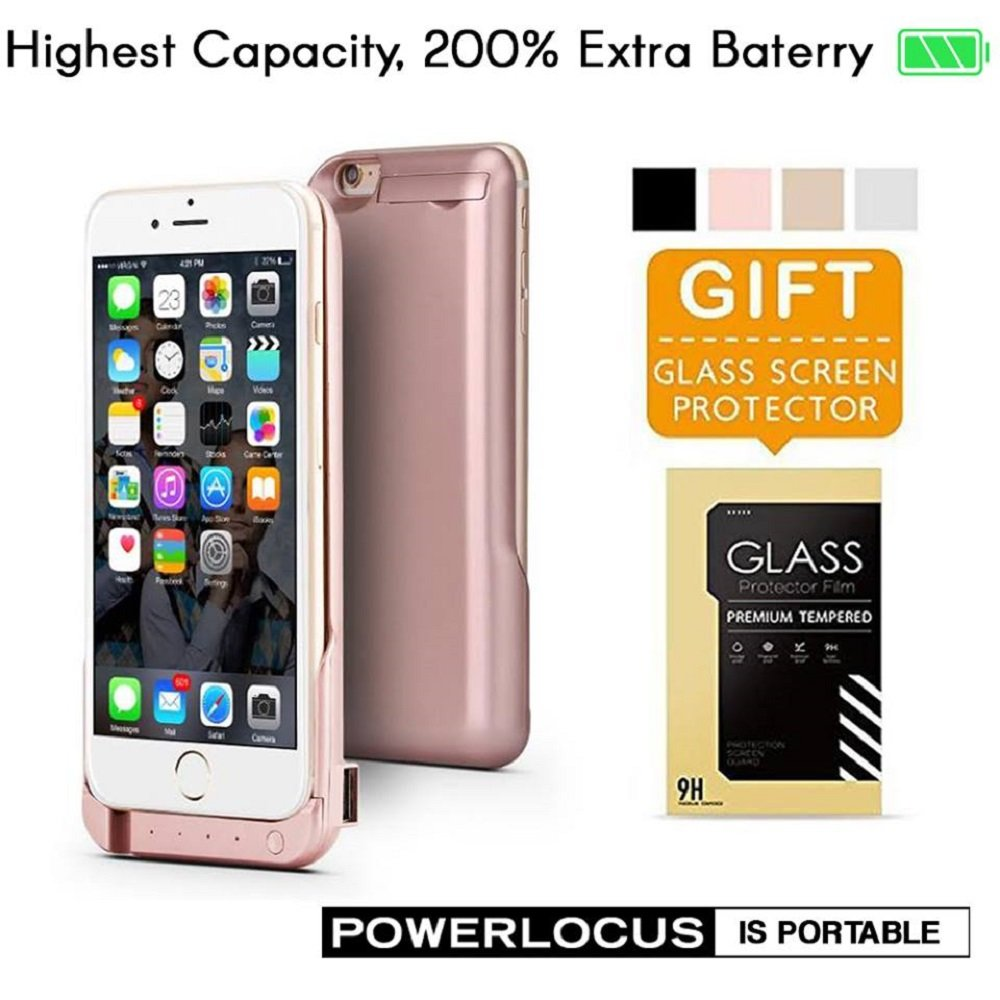 iPhone 6 6S Battery Case, Ultra Slim Extended iPhone 6 Battery Case 6800mAh, (Rose Gold)