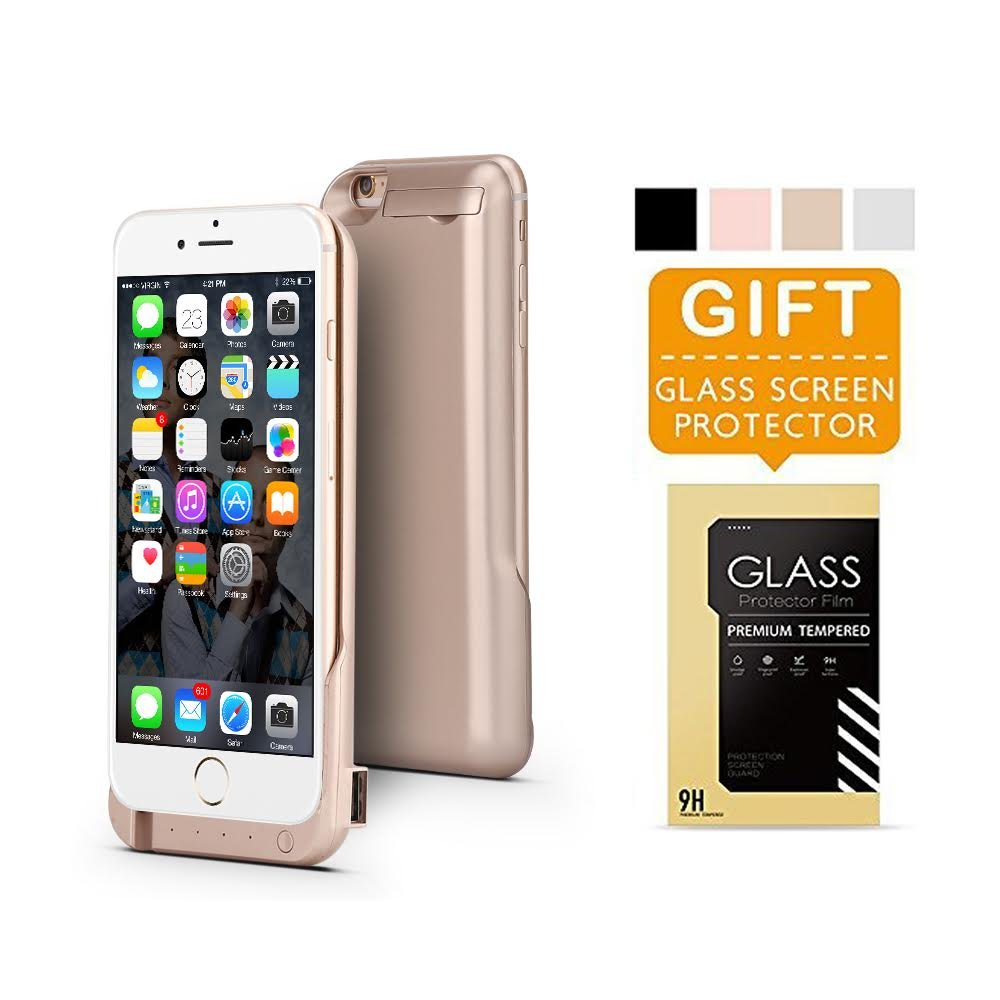 iPhone 6 6S Battery Case, Ultra Slim Extended iPhone 6 Battery Case 6800mAh, (Gold)
