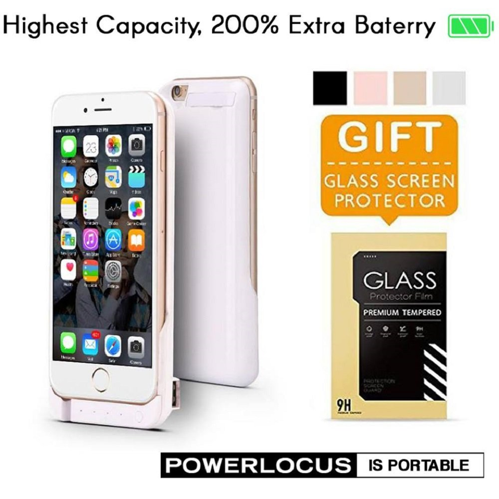 iPhone 6 6S Battery Case, Ultra Slim Extended iPhone 6 Battery Case 6800mAh, (White)