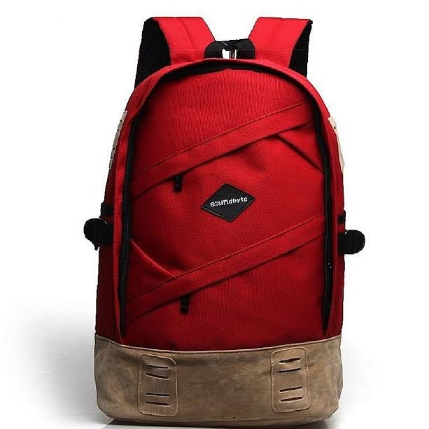 Laptop Backpacks, School Canvas Backpack Rucksack Daypack Bag Travel Sports Dark Red