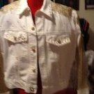 unique BRIGHT WHITE Jacket and SKIRT w/Gold EMBELLISHMENT SIZE 10 SET