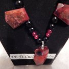 CUSTOM Natural Ruby Red Agate Nugget Bead  Black and Red Round beads Necklace
