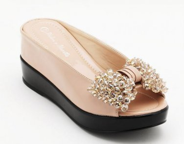 Helen Heart Beige Leather shoe with Swarovski Bow Open Toe WEDGE 6-11 MED