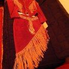RED SUEDE! FRONTIER Suede Jacket and Skirt w/Aztec design W/BEIGE Fringe SIZE 10