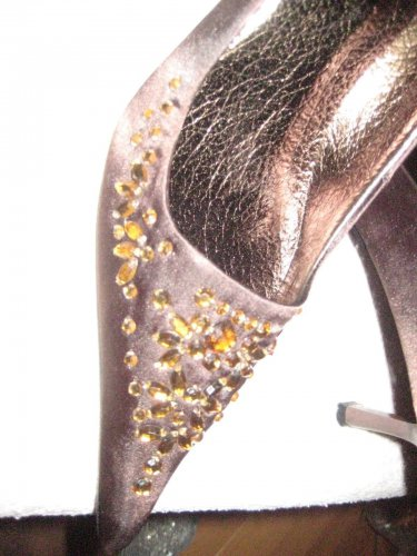 BROWN BLING SaTIN  w/brown stones pumps Shoes  any occasion! SIZE 8M