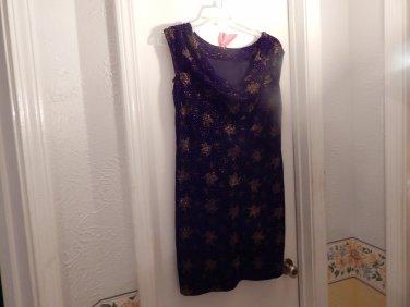 BLACK w/GOLD  VELVET Dress sizes 10 dress