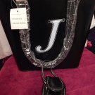 SALE!! Large Black Purse  Lite Blue Letter J with cell phone case and 2 handles