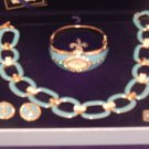 "Bella DEl Mar Signature Turquoise Necklace 12"" Beauty,Chain & No Metal WATCH Set"