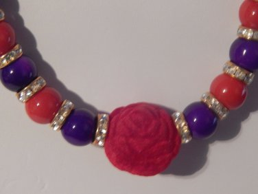 CUSTOM Red and Purple Agate Bead w/Rhinestone, & Red Velvet Round Rose Necklace