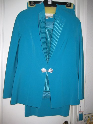 Pretty TURQUOISEJacket &Skirt w/RHINESTONE INSERT W/DECORATED HOOK FRONT SIZE 10