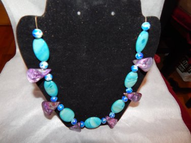 SALE!!!  Jewerly  Turquoise Oval, Purple Mother of Pearl teardrop  Necklace