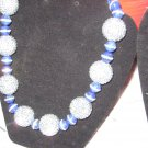 SALE!!!!   Rhinestone INlaid Navy Lapis and Silver rhinestone Beaded / Earrings