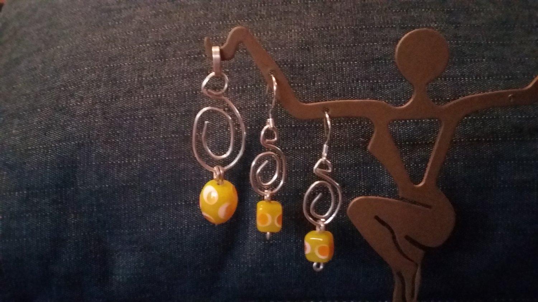 Sterling Silver Earrings & Pendant set Interchangeable glass beads
