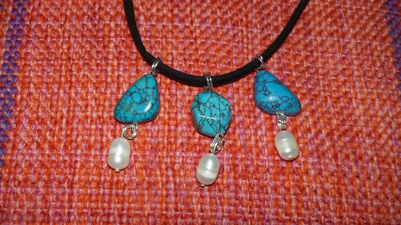 Blue Howlite and pearl dangles set