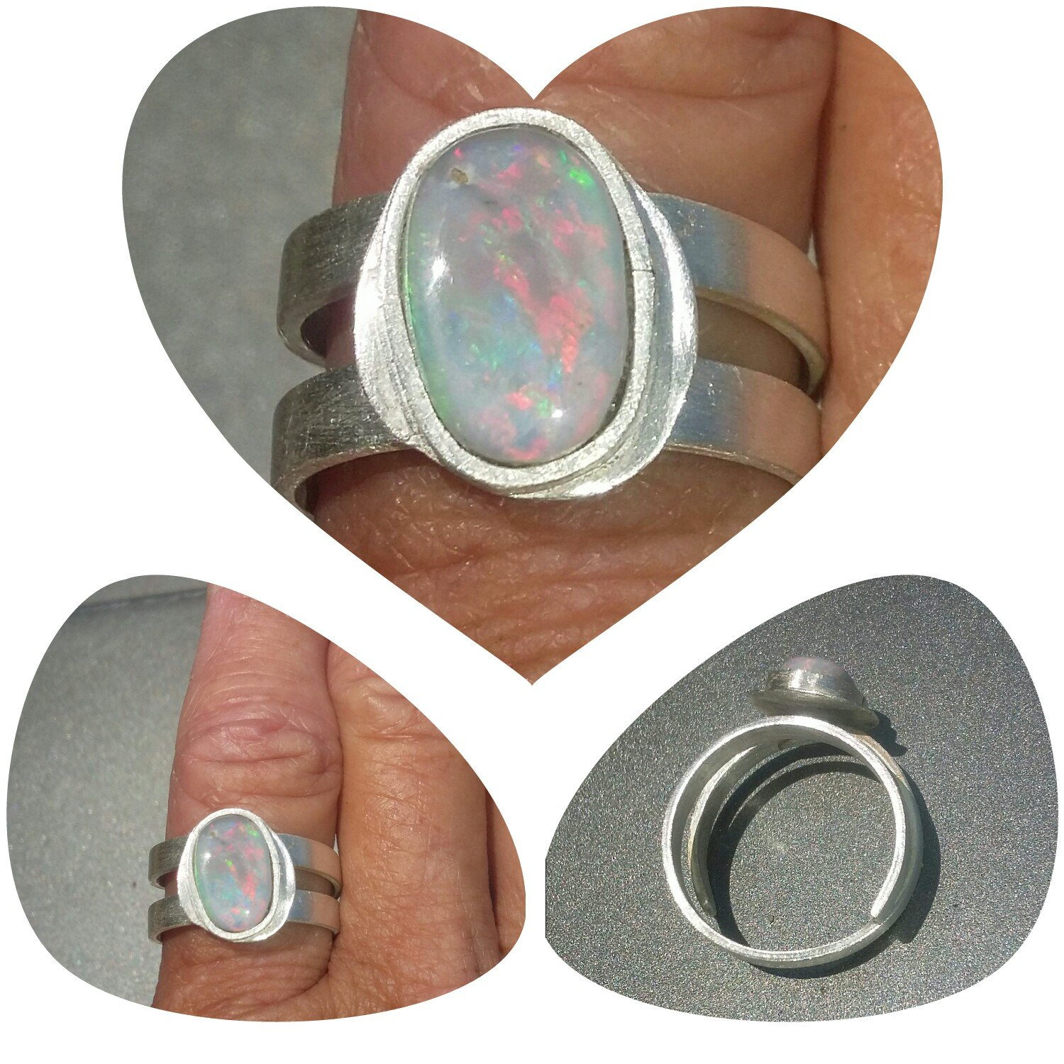 Sterling Silver Opal Ring Artistic size 8 adjustable
