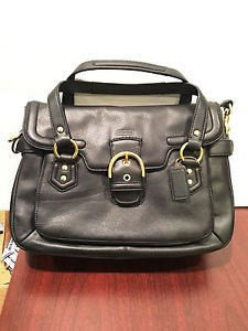 COACH CAMPBELL LEATHER SMALL FLAP SATCHEL, 27321, Black, NEW