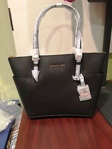 Michael Kors Jet Set EW Top-Zip Tote, Black, NWT