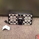 Coach Signature Black Zip Around Wallet NWT4