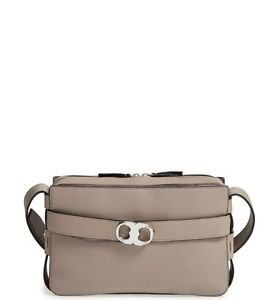 Tory Burch Small Gemini Belted Leather Camera Bag, French Grey, NWT