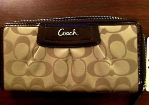 Coach Signature Sateen Pleated Zip Around Wallet, NWT-1