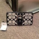 Coach Signature Black Zip Around Wallet NWT3