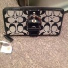 Coach Signature Black Zip Around Wallet NWT2