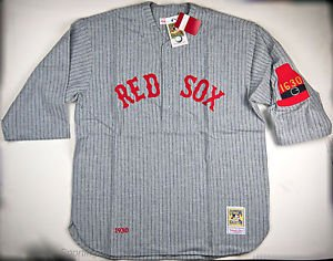 Mitchell & Ness Men's Boston Red Sox 1930 Gray Pinstripe Jersey (2XL) - 30REDS