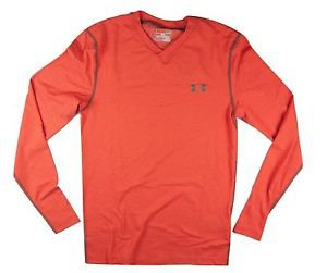 Under Armour Mens UA Coldgear Infrared V-Neck Long Sleeve Striped Shirt -1266016