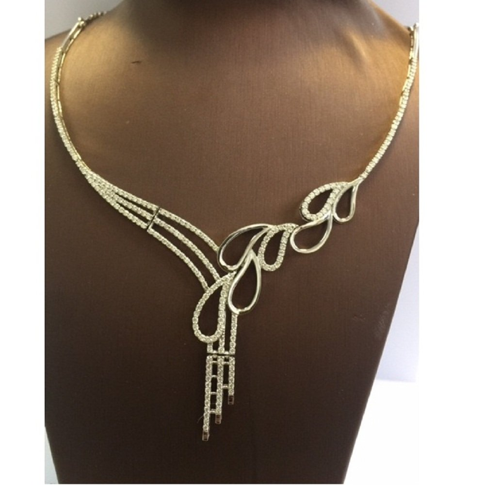 RRP £12000...!!!! 3.00 Carat Round Diamond Designer Necklace , 18k White Gold