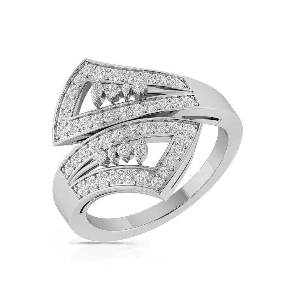 0.60Ct IGI Certificate Round Cut Diamond Engagement Ring 14K White Gold