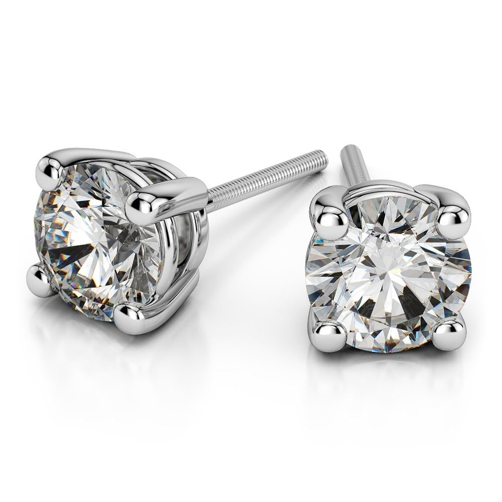 Special Offer 0.15Ct Round Diamond Stud Earring In 18k White GOld