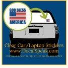 God Bless America/Flag Clear Car/Laptop Sticker