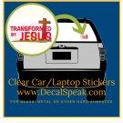 Transformed By Jesus Clear Car/Laptop Sticker