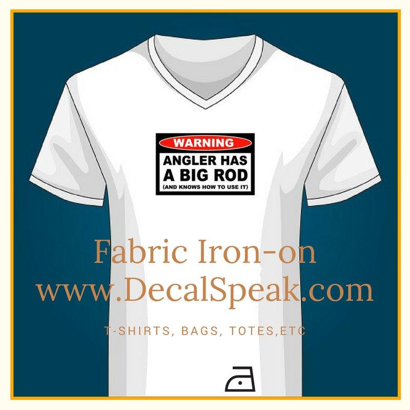 Angler Has Big Rod Fabric Iron-on