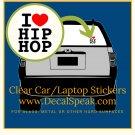 I ♥ Hip Hop 2 Clear Car/Laptop Sticker